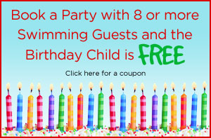 Book a party with 8 or more swimming guests and the birthday child is free - click here for a coupon!